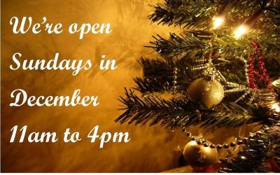 We're open Sunday's leading up to Christmas